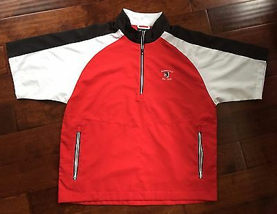 Footjoy WindShirt 1/2 Zip Golf Pullover Jacket Country Club Logo sz XL Red Black