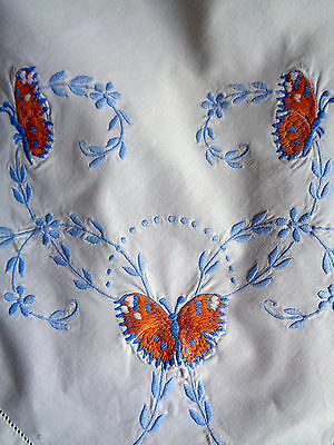 """Vintage Tablecloth White Embroidered Butterflies & Flowers 45"""" Square"""