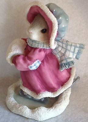 1996 Enesco My Blushing Bunnies Girl Ice Skating Figurine Original Box