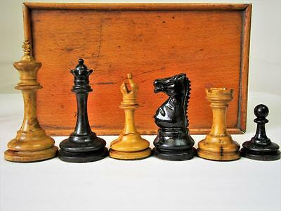 ANTIQUE CHESS SET GERMAN TOURNAMENT TRIPLE WEIGHTED K. 93 mm + ORG BOX