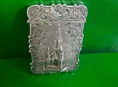 Nathaniel Mills Castle Top Antique English Sterling Silver Card Case 1845