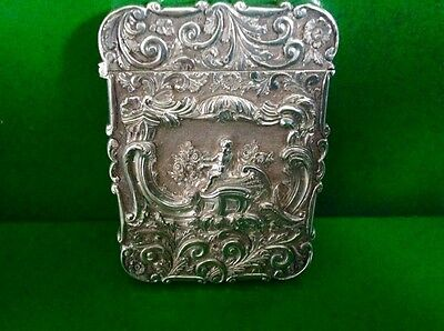 Nathaniel Mills High Relief Cherub Antique English Sterling Silver Card Case
