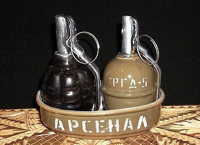 Ceramic Set For Spices in the Form of a Grenade RGD5 & F1 // РГД-5 & Ф-1