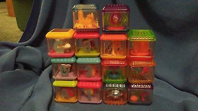 Fisher Price Peek A Boo Blocks Lot of 14 ABC 123 Games Sensory Building Toy