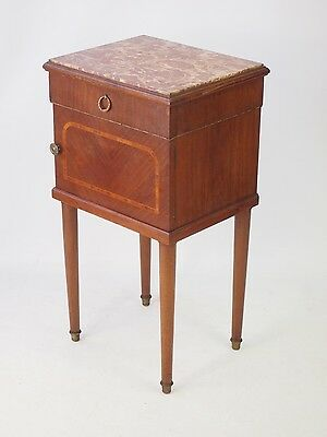 Vintage French Bedside Cabinet - Marble Top Table Empire Mahogany Pot Cupboard