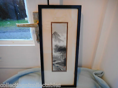 Framed Vintage Japanese Painting Mountain Scene Man Travelling  (Signed)