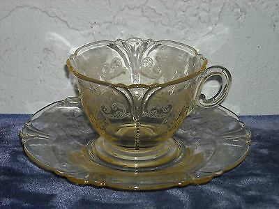 Heisey Old Colony Cup and Saucer  Sahara Yellow