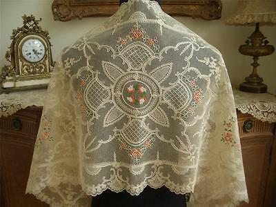 LG Antique VTG SCHIFFLI LACE PETIT POINT EMBROIDERY RUNNER DRESSER SCARF PANEL