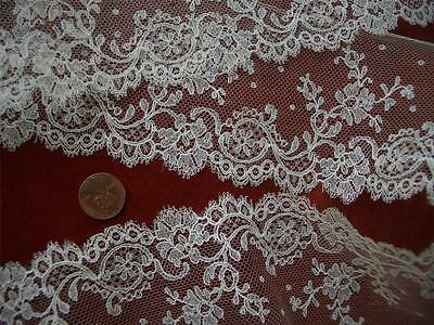 SUPERB DAINTY ETHEREAL Antique VTG FRENCH NET LACE FLOUNCE *DOLLS