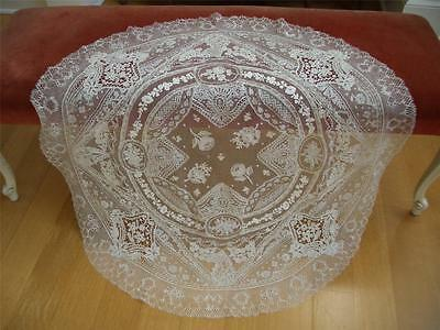 RARE HM Antique VTG NORMANDY BELGIAN POINT DE GAZE LACE TABLECLOTH VEIL PANEL