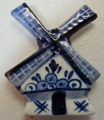 Delft Porcelain Refrigerator Magnet Blue and White Windmill Made in UK