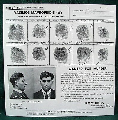Greek Gambler Wanted for Murder orig 1938 Detroit Police posting