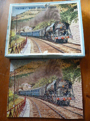 "AL541)Vintage jigsaw ""Victory"" Wood Jig-Saw Puzzle of French Blue Train complete"