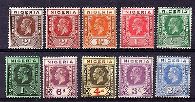 Nigeria (568) 1921-32 part set to 1/- Lightly mounted mint,  out of Sg15-26