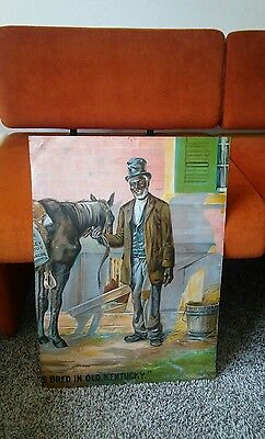 Antique Chaos Shank Litho Black Green River Whiskey Advertising Tin History Sign