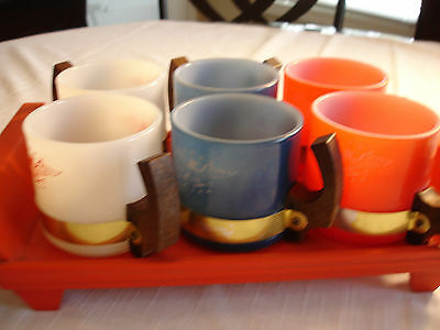 Vintage SIESTA WARE Patrotic Red White Blue Mugs Cups With Tray