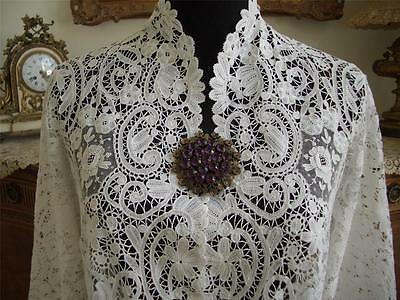 RARE HANDMADE Antique Vtg BELGIAN BRUSSELS POINT DE GAZE LACE JACKET TOP SHIRT