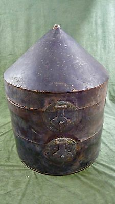 Antique Chinese MANDARIN Summer Officer Court Qing HAT Leather Hat Box Finial