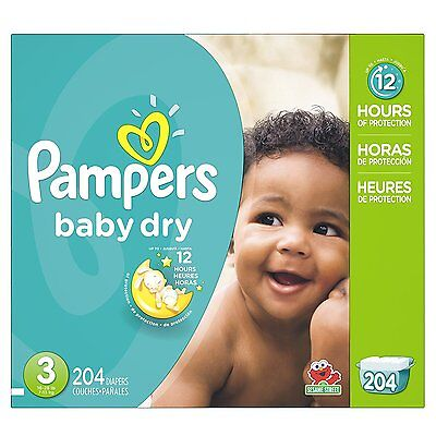 Pampers Baby Dry Diapers Size-3 Economy Pack Plus 204-Count- Packaging May Vary