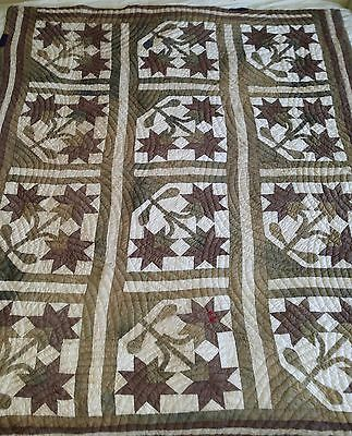 """Vintage 1940s Quilt THREE FLOWER Patchwork Square with some Applique 68"""" x 81"""""""