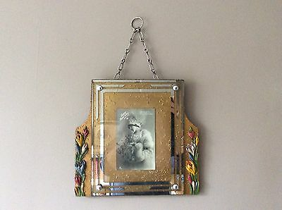 Unusual Vintage Art Deco Hanging Gold Barbola Photo Frame Flower Trim