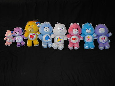 Lot of 7 Carlton Cards Care Bears 20th Annv. Plush Dolls Grumpy More & Bonus