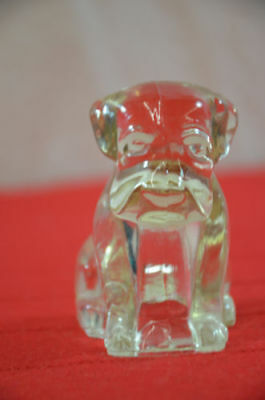 "sitting dog puppy 3"" tall Vintage glass candy container figure 1345"