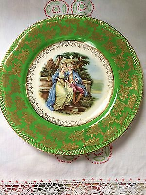 Vintage Royal Alma Collectors Plate Green Gold Courting Couple Scene 9""