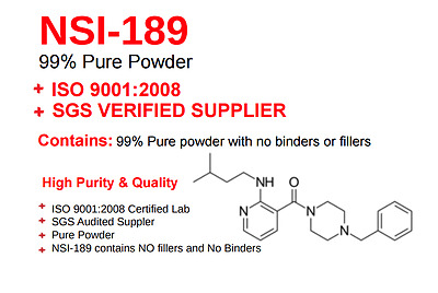 NSI-189 x 1G w/ COA, Third party Tested by GC:MS, w/HPLC Spectrum /99.28% Pure