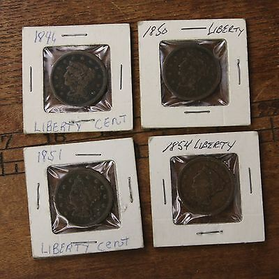 4 Pack Raw 1846 1850 1851 1854 1C Ungraded Early US Copper Large Cent Coin Lot