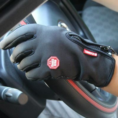 Waterproof Touch Screen Outdoor Sports Windstopper Cycling Gloves Black Bicycle