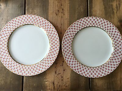 BRAND NEW Imperial porcelain Dinner Plates with handpainted Russian( Cobalt Net)