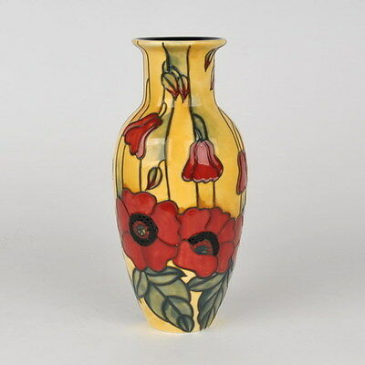 """Collectible 8"""" Yellow Poppy Vase - Old Tupton Ware Tube Lined Ceramics -Item1692"""
