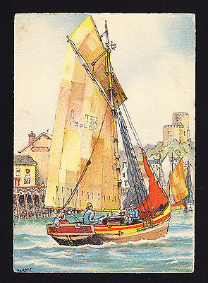Barday Artist Design Postcard Print of painting Sailing boat on Water Harbour PC