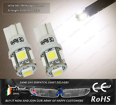 2x LED T10 W5W 501 3500k Warm White Wedge Side Lights Parking Bulbs Truck 24v