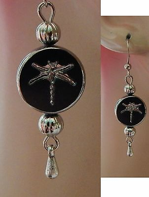 Silver & Black Dragonfly Charm Drop/Dangle Earrings Handmade Jewelry NEW Fashion