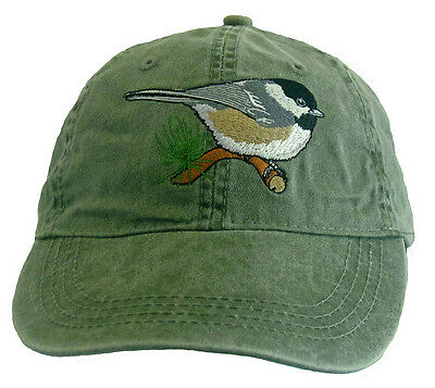 Chickadee Embroidered Cotton Cap NEW Hat Bird Black-capped