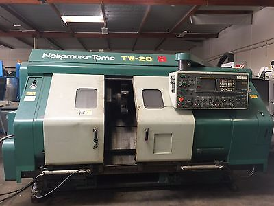 1994 NAKAMURA TOME TW-20 TWIN TURRET CNC LATHE with FANUC 16-TT CONTROL