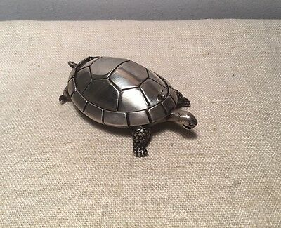 Vintage Portuguese Sterling Silver Portugal Figural Turtle Ash Tray