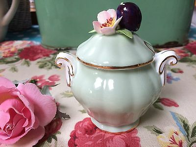 Vintage ADDERLEY FLORAL MUSTARD/PRESERVE POT Apple Green China Fruit Flowers