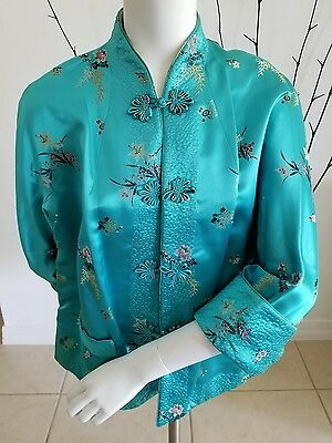 Chinese Silk Vtg Elegant Green Embroidery Reversible Yellow Womans Jacket Custom