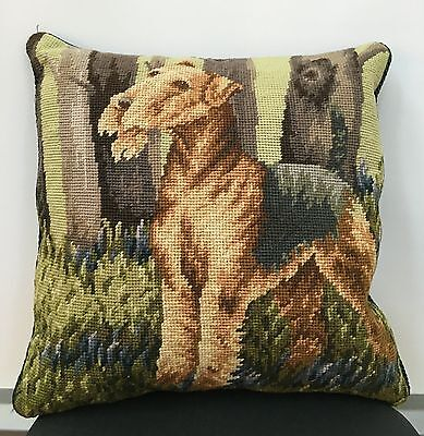 "Airedale Terrier Dog 100% Wool Handmade Needlepoint Pillow 14"" by 14"""