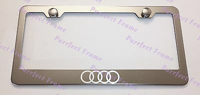 Audi Logo LASER Style Stainless Steel License Plate Frame Rust Free W/ Bolt Caps