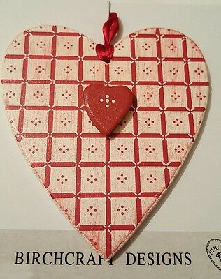 Joblot * Bnip * 6 Birchcraft Designs Red Vintage Wooden Hearts - Valentines Etc