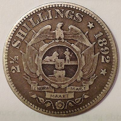 1892 South Africa, 2-1/2 Shillings Silver Coin, *High Grade /Low Mintage*Vintage