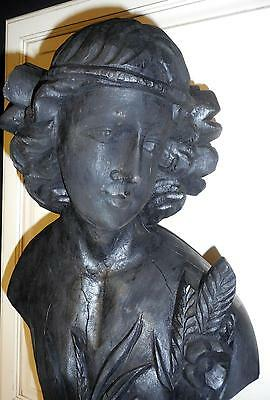 "Antique Style Carved Wood Bust of Grecian? Woman 24"" - Black Painted. Finish"