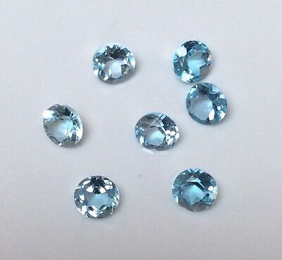 7 Pc Round Cut Shape Natural Blue Topaz 2.5Mm Faceted Loose Gemstone