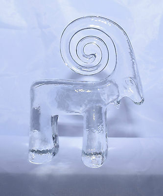 RARE Kosta Boda Glass Goat w/ Curly Horns or Ibex Flat Back Zoo Series Vintage