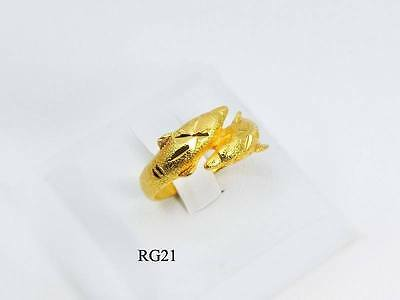 Dolphin Ring 22K 23K 24K Beautiful Gold Gp Woman Jewelry Rg021 6-10 Cute New