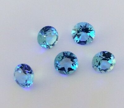 5 Pc Round Cut Shape Natural Blue Topaz 6Mm Faceted Loose Gemstone